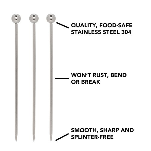 Stainless Steel Cocktail Picks - 4'' (12pc Set) by Top Shelf Bar Supply (Image #2)