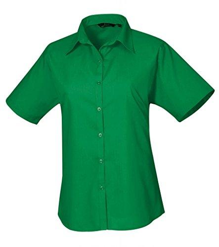 Premier - Blusa de manga corta de popelina para mujer verde esmeralda