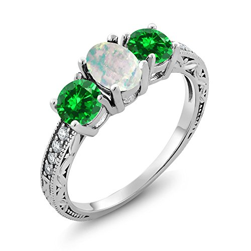 Oval 3 Stone Cabochon Ring - Gem Stone King 2.43 Ct Oval Cabochon White Simulated Opal and Green Simulated Emerald 925 Sterling Silver 3-Stone Ladies Engagement Ring (Ring Size 7)