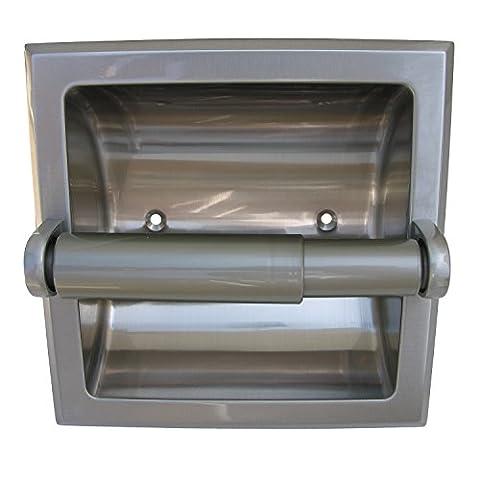 LASCO 35-3033 Recessed Toilet Tissue Holder, Tissue Roller Included, Satin Nickel Finish - Nickel Recessed Toilet Paper Holder