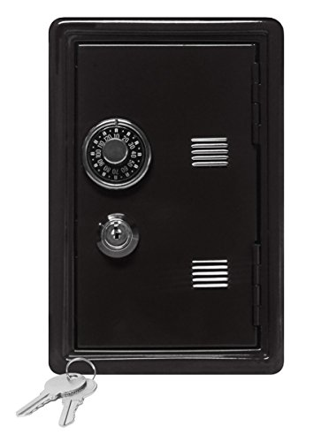 "Kid's Coin Bank Locker Safe with Single Digit Combination Lock and Key - 7"" High x 4"" x 3.9"" ()"
