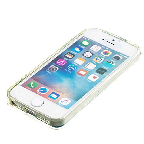 MOONCASE iPhone SE Hülle, Bling Glitzer Strom Flüssiger Schutzhülle für iPhone SE/iPhone 5S 5/iPhone 5C Weiche Silikon Soft Gel TPU Case Back Cover (Silber)