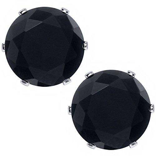 Black Onyx Gem Studs (5.50 Ct Big 10MM Natural Black Round Onyx Gemstone Birthstone Stud)