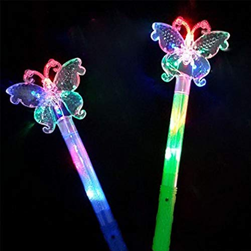 zhitao Flashing LED Butterfly Wand Light up Wands for Girls Princess Toy 2 Pack (Blue -