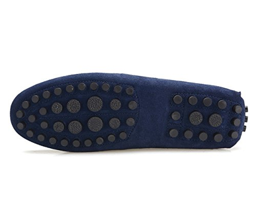 Icegrey Men's Lace Up Driving Moccasin Slipper Loafer Blue 43 DmDtq3iFD