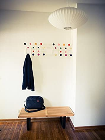 Emorden Furniture Modern Classic Hang It All, Wall Mounted Coat Rack with Painted Solid Wooden Balls Multicolor