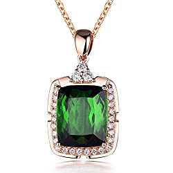 Green Tourmaline Diamond Pendant Necklace
