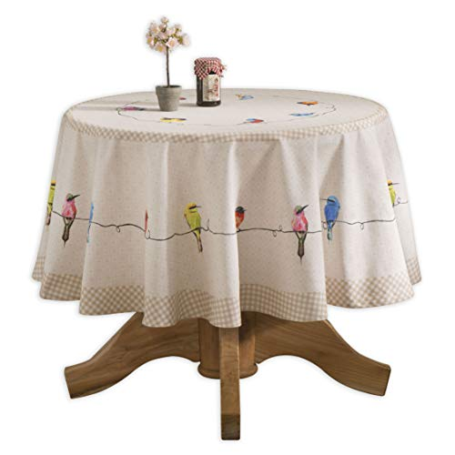 Painted Provence Kitchen - Maison d' Hermine Birdies On Wire 100% Cotton Tablecloth 69 Inch Round