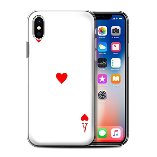 Ace Cover (STUFF4 Gel TPU Phone Case / Cover for Apple iPhone X/10 / Ace of Hearts Design / Playing Cards Collection)