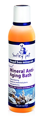 Smiley Pet Natural Mineral Dead Sea Anti-Aging Bath Shampoo enriched with AHA (Alfahydroxy acids), for Gentle Peeling and moistures and Vitamin E, C to Balance.