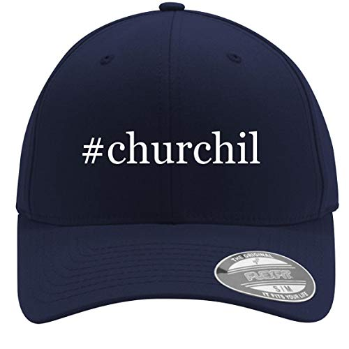 #Churchil - Adult Men's Hashtag Flexfit Baseball Hat Cap, Dark Navy, Small/Medium