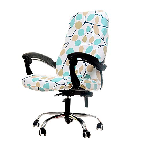 Leaves Printing Elastic Anti-Dirty Office Chair Cover Home Decoration Removable Side Zipper Armrest Seat Cover S/M/L Size,Cr 4,Size M -