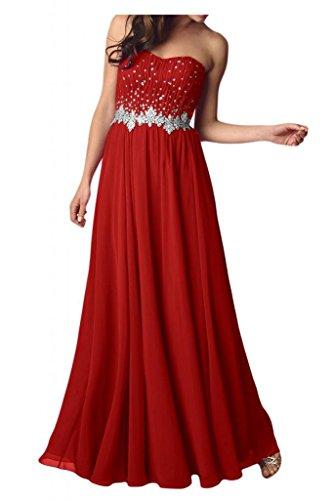 Estrellas de la gasa de la Toscana novia dulce en forma de corazón a largo bola de fiesta vestidos de noche vestidos Rojo