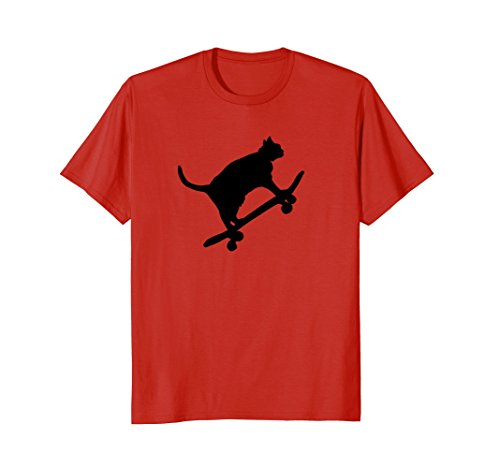 Mens Hilarious Black Cat On Skateboard T-Shirt Drawing Sports Art Large Red