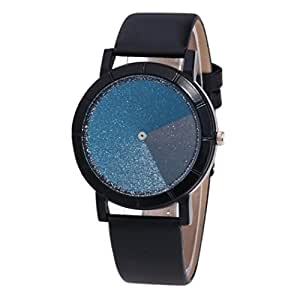 Yoyorule Fashion Lover's Gradient Color Watch Leather Band Quartz Wrist Watch (Blue)