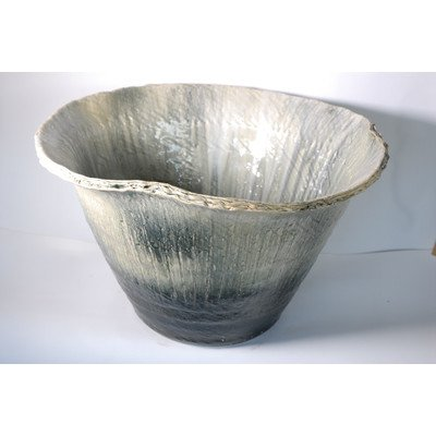 風の水琴工房 窯変流しひねり水鉢 20号 - 信楽焼 B077845R1Z