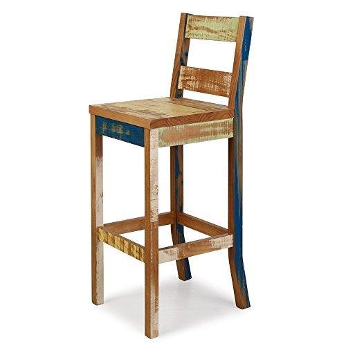 Reclaimed BarStool Solid Wood Distressed Color