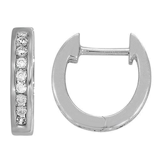 Boucles d'oreille diamant huggies 1/10 ct tw rond coupé or blanc 9K