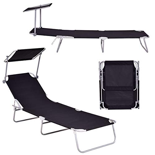 Giantex Lounge Chaise Foldable and Adjustable 5 Reclining Positions W/Sun Shade for Garden Beach Patio Pool Seat Outdoor Portable Recliner Lounge Chair (Black)