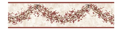 York Wallcoverings HK4619BDSMP Best Of Country Rose Hip Garland 8-Inch x 10-Inch Wallpaper Border Memo Sample, Off White (Hip Garland Rose)