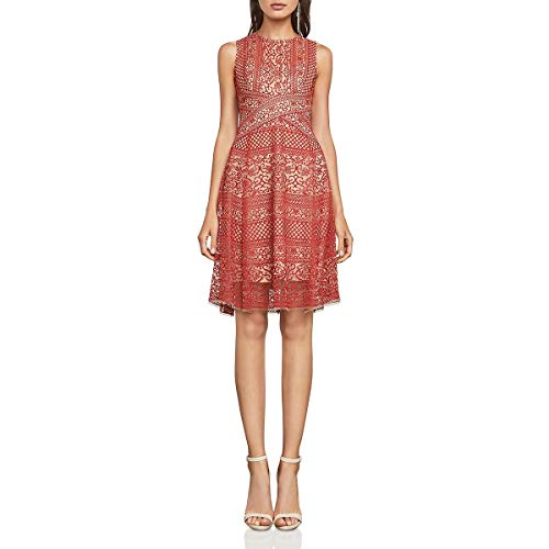 BCBG Max Azria Womens Alice Lace Fit & Flare Cocktail Dress Red 8