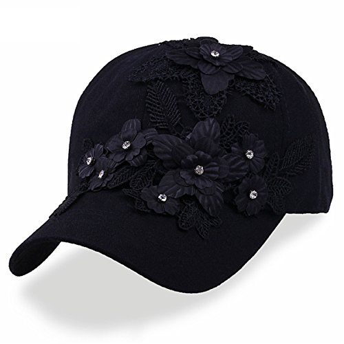 CRUOXIBB Black Baseball Cap Women Rhinestone Flower Snapback Hip Hop Hat (Black)