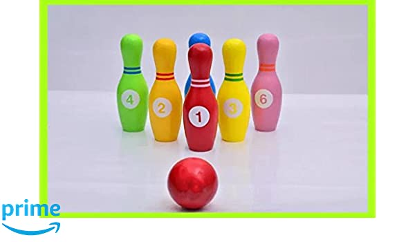 Amazoncom Heo Wooden Bowling Ball Play Set With 6 Bowling Pins And