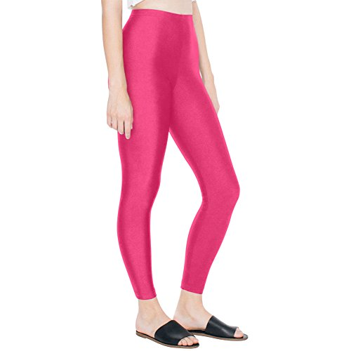 DixperfectWomens Shiny Nylon Tricot Leggings Disco Pants Sports Yoga Capris (S, Pink) (80 S Outfit)