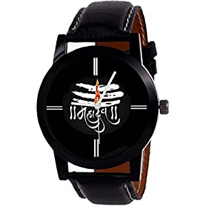 Om Sai Enterprise Analogue Black Mahadev Print Dial Leather Belt Boy Watch