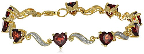 Yellow Gold Flashed Sterling Silver Garnet and Diamond Accent Heart Wave Bracelet, 7.25