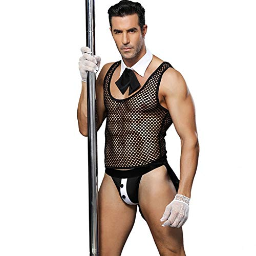 Men Lingerie Butler Cosplay Mesh Vest Tops Tie Collar Decoration Role Play Costume Outfit ()