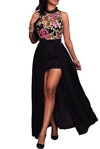 Dokotoo Womens Casual Summer Cocktail Chiffon Sleeveless Evening Maxi Long Dresses Black Large - Hot Sexy Black Formal Dress