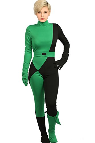 xcoser Kim Possible Shego Jumpsuit Deluxe Cosplay Costume Women -