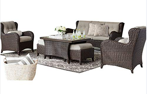 Agio Outdoor Patio Handwoven All-Weather Wicker 6pc Seating Set w/Sunbrella Cushions
