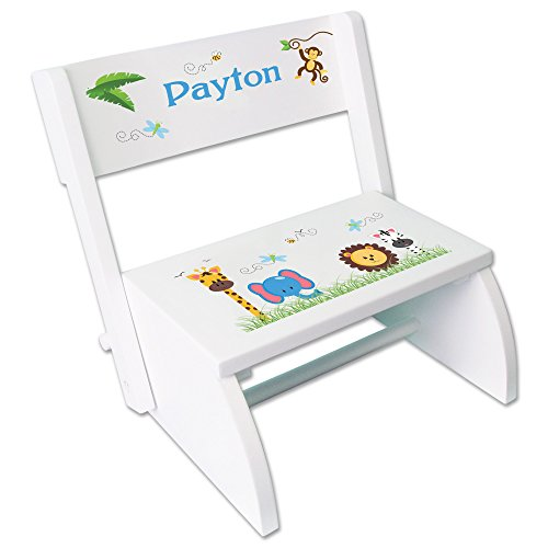 - Personalized Jungle Animals Boy Childrens and Toddlers White Folding Stool