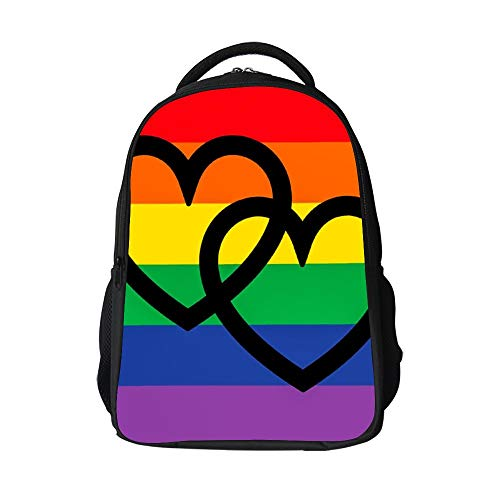 SARA NELL School Bags for Kids Elementary Overlapping Hearts On Rainbow Flag School Backpacks Bookbags for - Overlapping Hearts