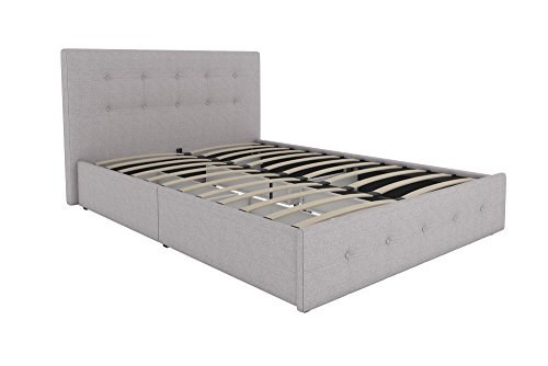 DHP Rose Upholstered Platform Bed with Under Bed Storage and Wooden Slats, Button Tufted Headboard in Linen, Full Size - Grey Headboard With Drawers