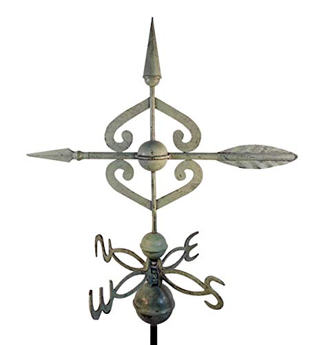 Dalvento 408V Scrolled Arrow Weathervane Aluminum Directionals and Globes, Large Blue/Green