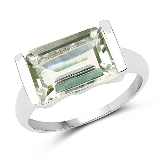 Johareez 4.30 cts Green Amethyst .925 Sterling Silver Rhodium Plated Ring for Women