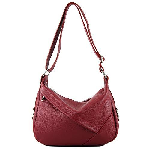 de hombro ital señora cuero modamoda de genuino de de Bolso hombro T164 Rojo Oscuro Bolso Bolso de Cuero Bolso OtHxxFwq