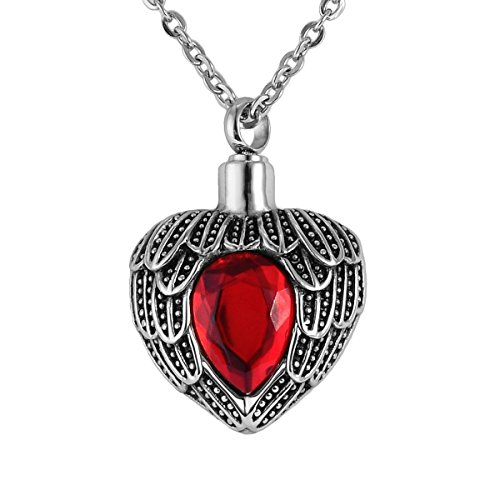 Valyria Angel Wing Birthstone Memorial Urn Necklace Stainless Steel Waterproof Cremation Jewelry,Red