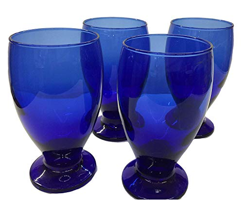 Water Goblets, Wine Goblet Tea Goblets, 12oz. Set of 2 Blue Cobalt Footed Glasses-Goblets, Unique Design, Great for Serving: Wine, Water, Cocktails or Juice. Great as Decoration or Table Set.