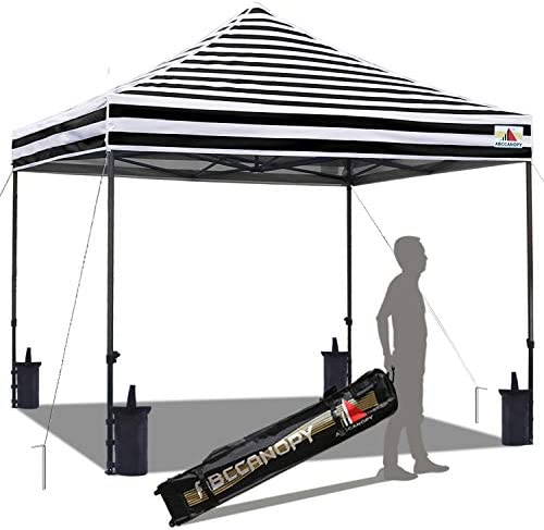 ABCCANOPY Commercial Pop up Canopy Tent Instant Shelter with Wheeled Roller Bag, Bonus 4 Canopy Weight Bags, 10×10 FT