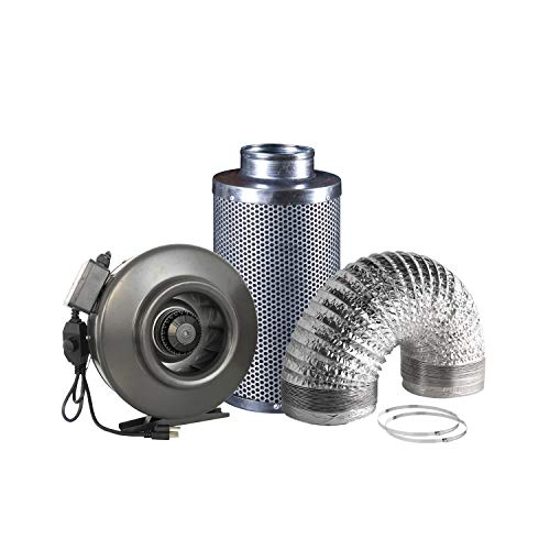 $135.00 Hydroponics Kits Hydro Crunch 6 inch 410 CFM Inline Duct Fan & 6″ x 12″ Carbon Filter with 6″ x 25ft. Ducting Hydroponic Ventilation Kit 2019