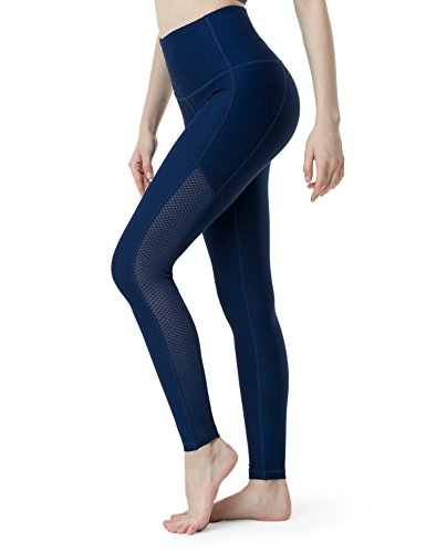 (Tesla TM-FYP56-NVY_2X-Large Yoga Mesh Long Pants High Tummy Control Waist w Hidden Pocket FYP56)