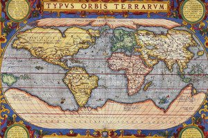 Amazon old world map canvas or print wall art flat world map old world map canvas or print wall art gumiabroncs Gallery