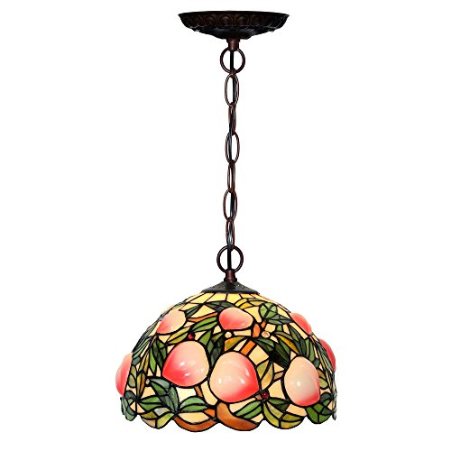 Bieye L10600 12-inches Peach Tiffany Style Stained Glass Ceiling Pendant Fixture with Resin Peach