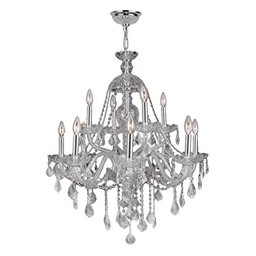 (Brilliance Lighting and Chandeliers Venetian Italian Style 12-Light Chrome Finish and Clear Crystal 2-Tier 28 x 31-inch Chandelier)