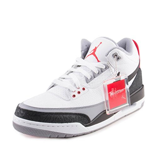 NIKE Mens Air Jordan 3 Retro Tinker NRG White/Black/Fire Red Leather Size 11.5 by NIKE