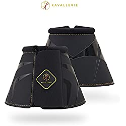Kavallerie Classic Anti-Spin Bell Boots, Overreaching Protection, Durable with Secure Fit, Perfect for Cross Country, Hunting, Jumping and Exercises-L-Black